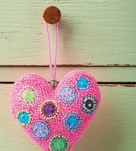 Beaded Heart Hanging Decorations