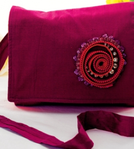 Embellished Zip Motif Bag