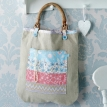 Wooden Handled Linen Tote Bag