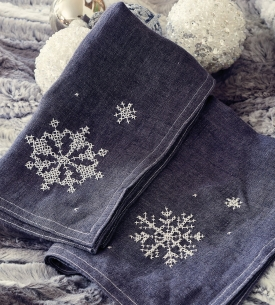 Cross-Stitch Snowflake Napkins