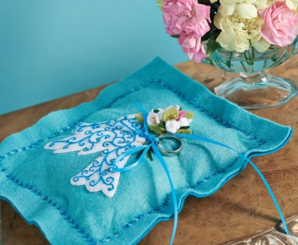 Turquoise Felt Wedding Ring Pillow