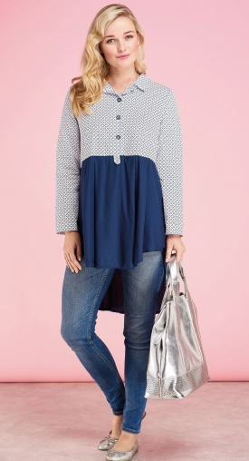 Two Tone Long-Sleeved Blouse
