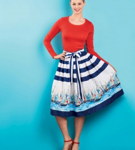 Full Skirt with Sash Belt