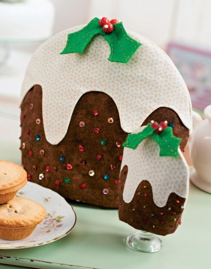 Christmas Pudding Tea and Floral Egg Cosy
