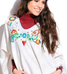 Colourful Embroidered Poncho