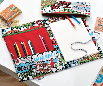 Comic Print Pencil Case and Folder - Free sewing patterns - Sew Magazine