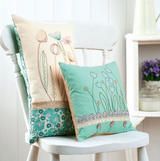 Embroidered cushions - Free sewing patterns - Sew Magazine