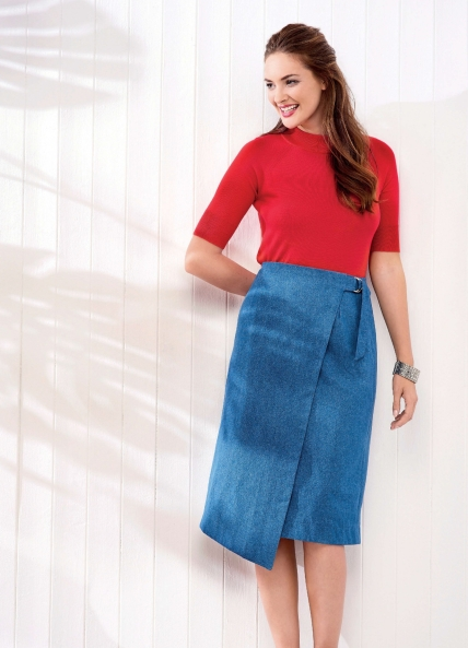 Asymmetric Denim Wrap Skirt