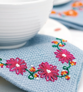 Embroidered Flower Napkins