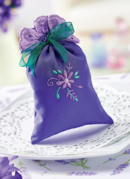 Embroidered Lavender Pillow set