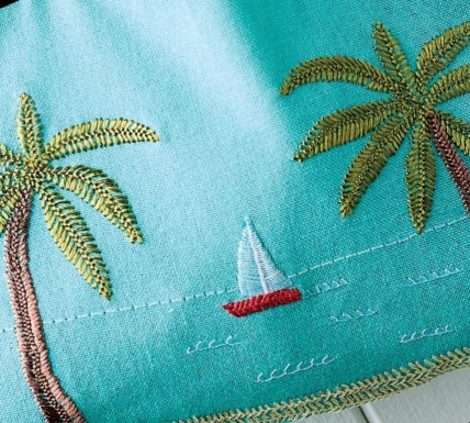 Embroidered beach bag