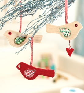 Festive Folksy Bird Decorations
