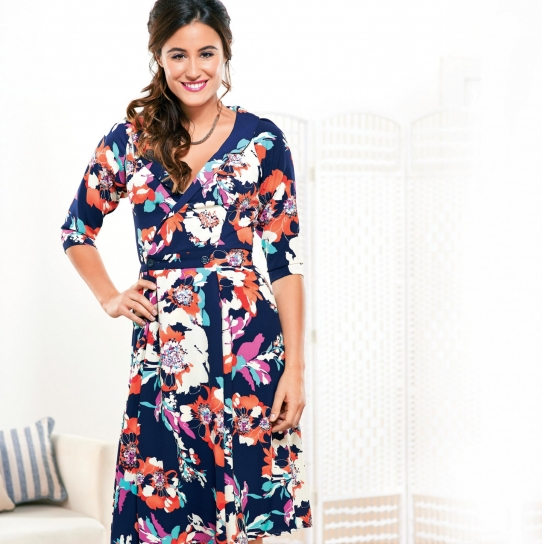 Floaty Floral Three Quarter Sleeved Dress - Free sewing patterns ...