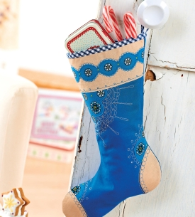 Floral Embroidered Christmas Stocking