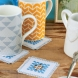 Hardanger embroidery coasters