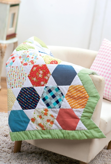 Honeycomb Moda Happy Go Lucky Hexagon Quilt Free Sewing