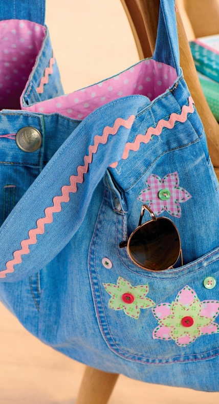 Recycled Denim Jeans Bag Free Sewing Patterns Sew Magazine