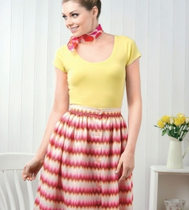 No-Pattern Button Skirt