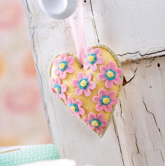 Padded Heart Felt Decoration