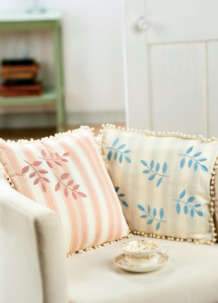 Satin Stitched Embroidered Leaf Cushions