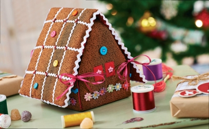 Gingerbread House Fabric Door Stop  REDUCED PRICE