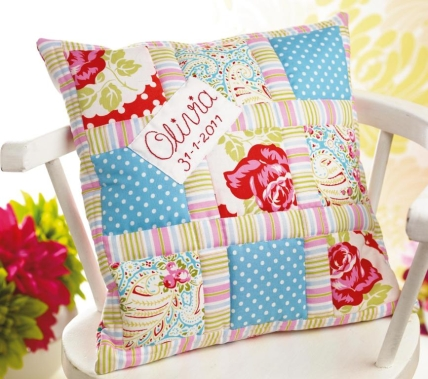 Keepsake quilt and embroidered cushion