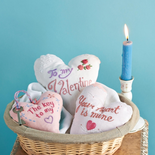 Vintage Valentine Embroidered Heart Tokens