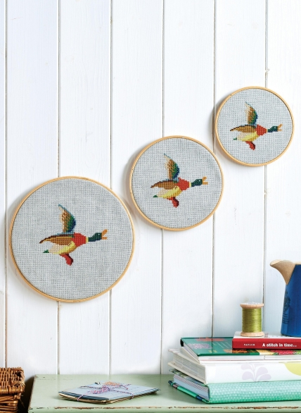 Embroidered Flying Ducks Wall Hanging