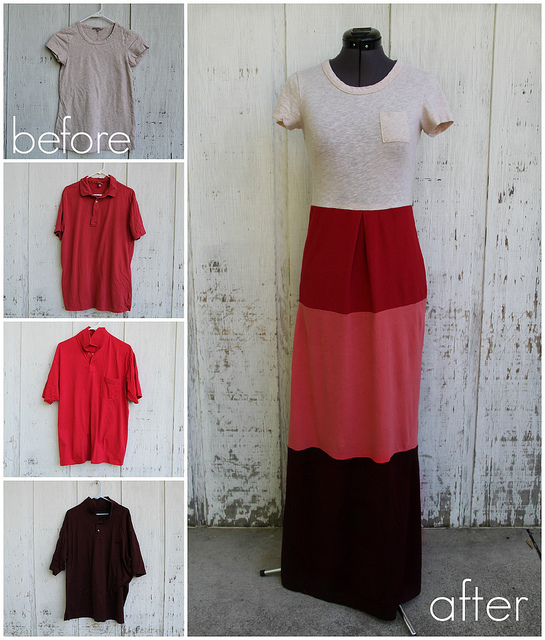 Upcylced colour block maxi dress