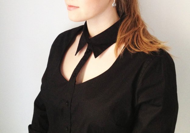 Black Cut out shirt