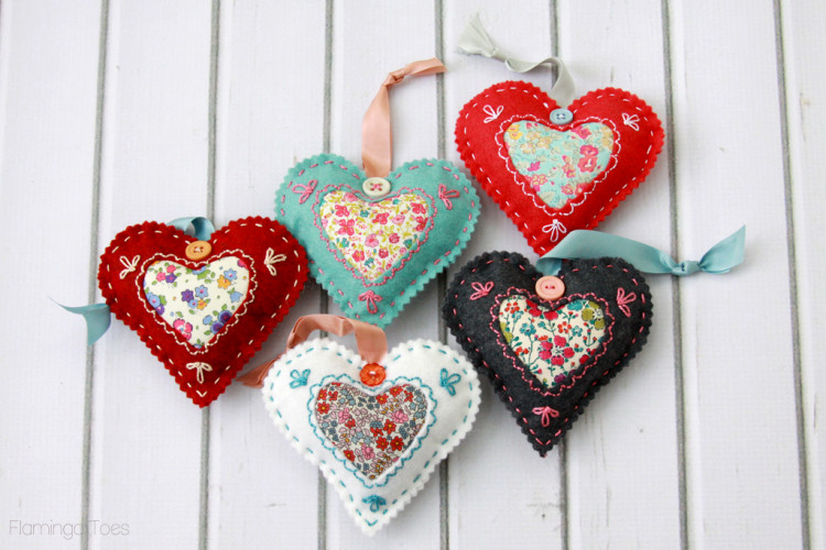 Make valentine fabric hearts