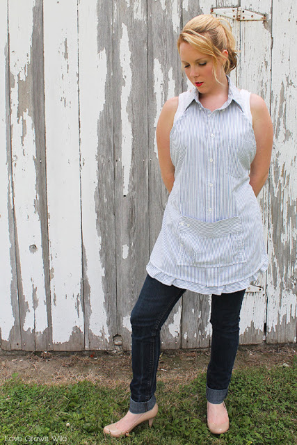 Upcycle a men's shirt into an apron