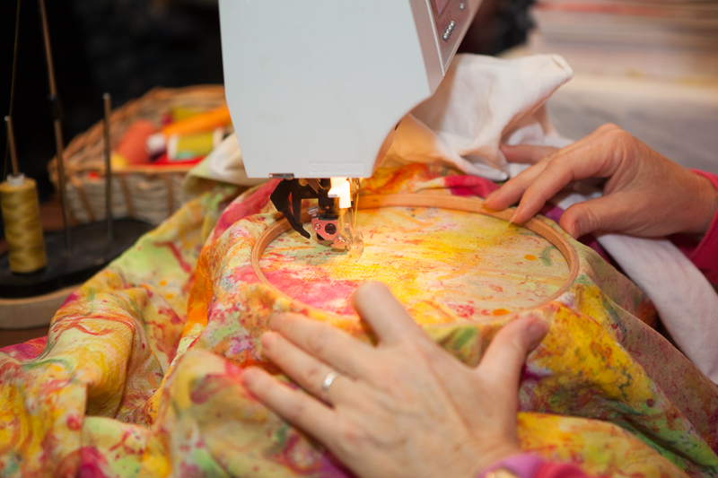 using a sewing machine