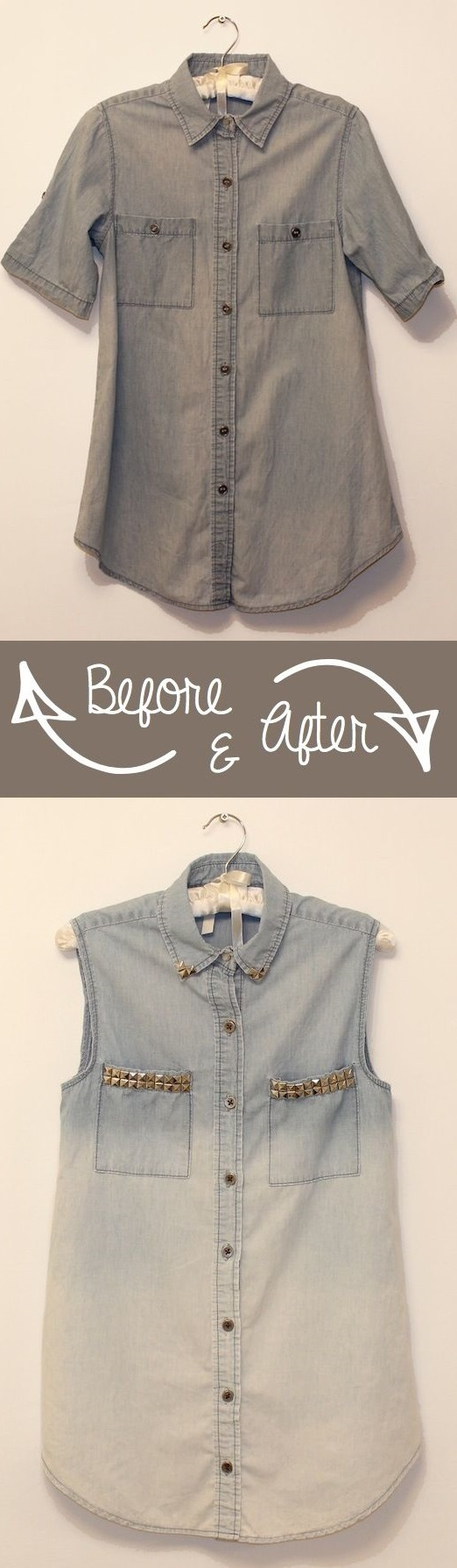 Bleached ombre denim shirt