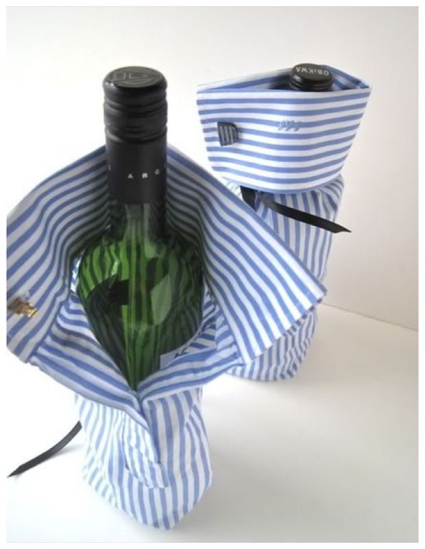 upcycled men's shirt cuff wine holders