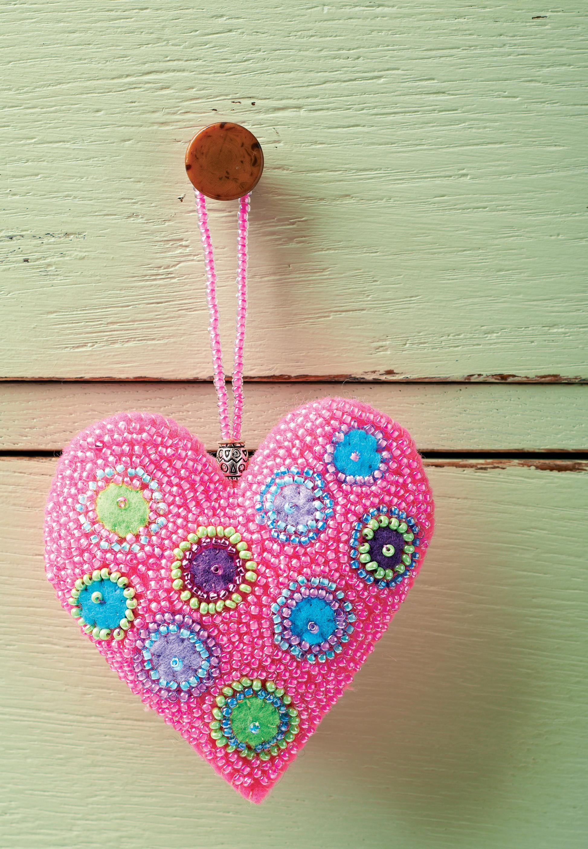 Beaded Heart Hanging Decorations Free Sewing Patterns