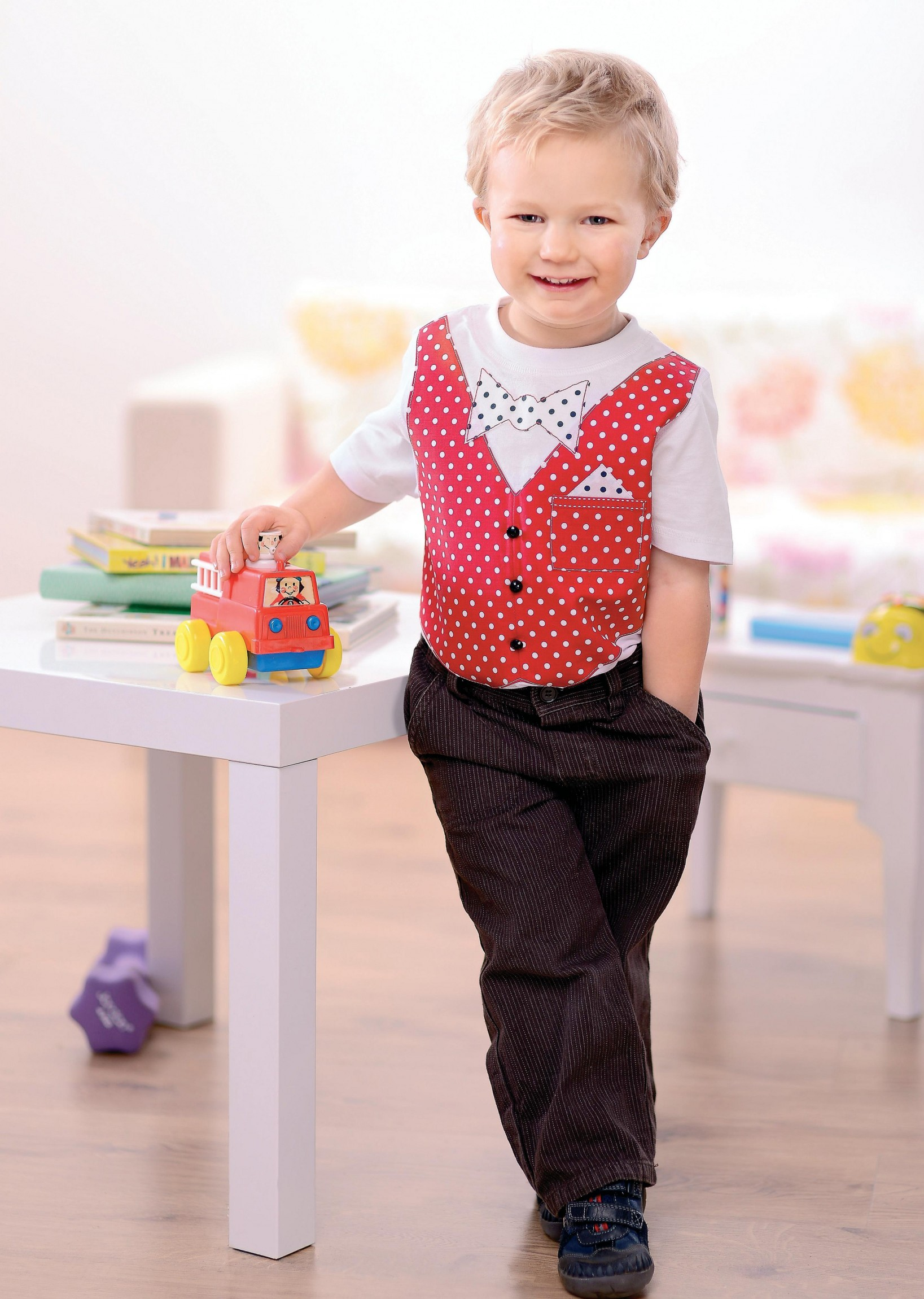 Boy S Smart Bow Tie And Waistcoat Appliqued T Shirts