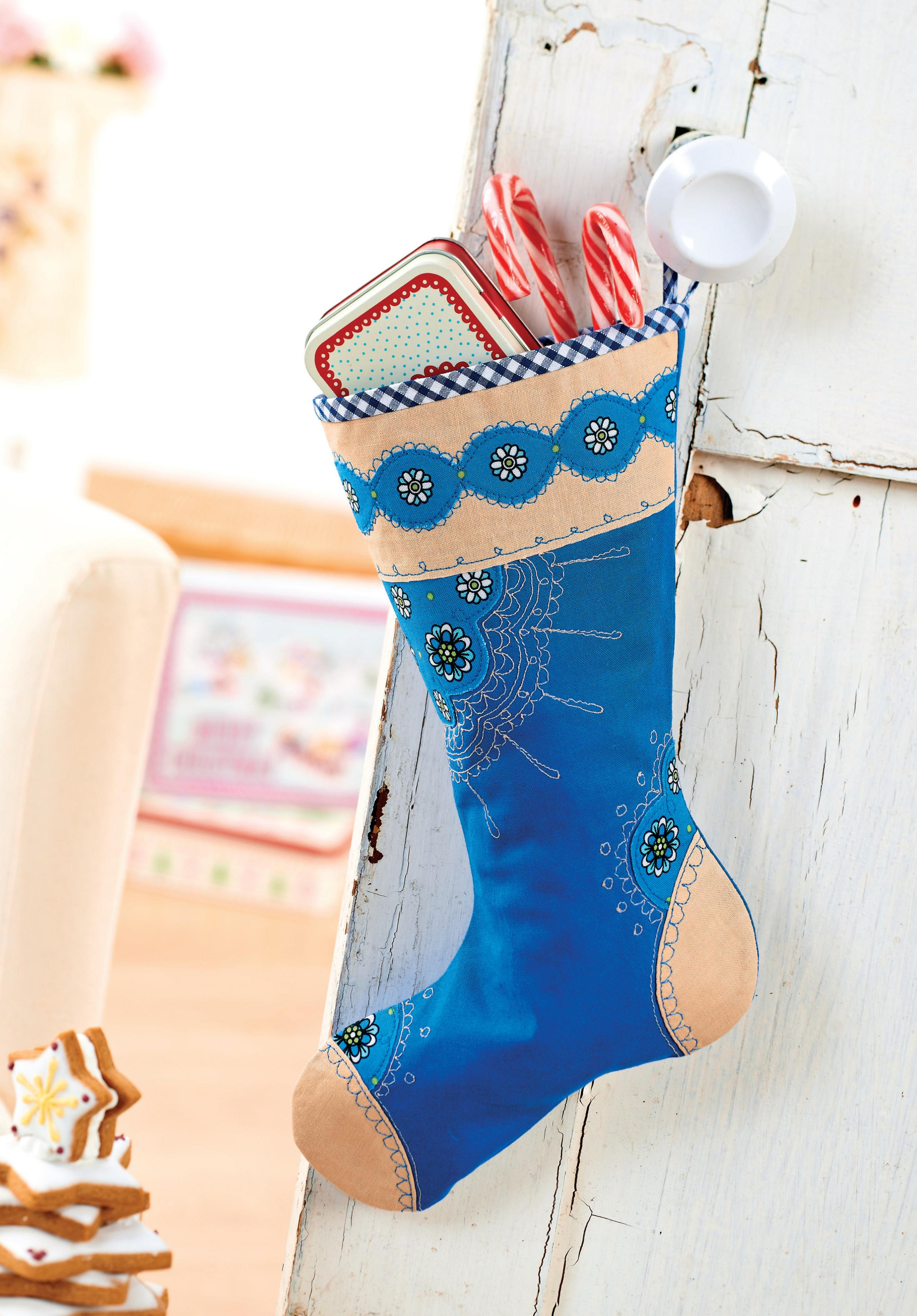 Floral Embroidered Christmas Stocking Free Sewing