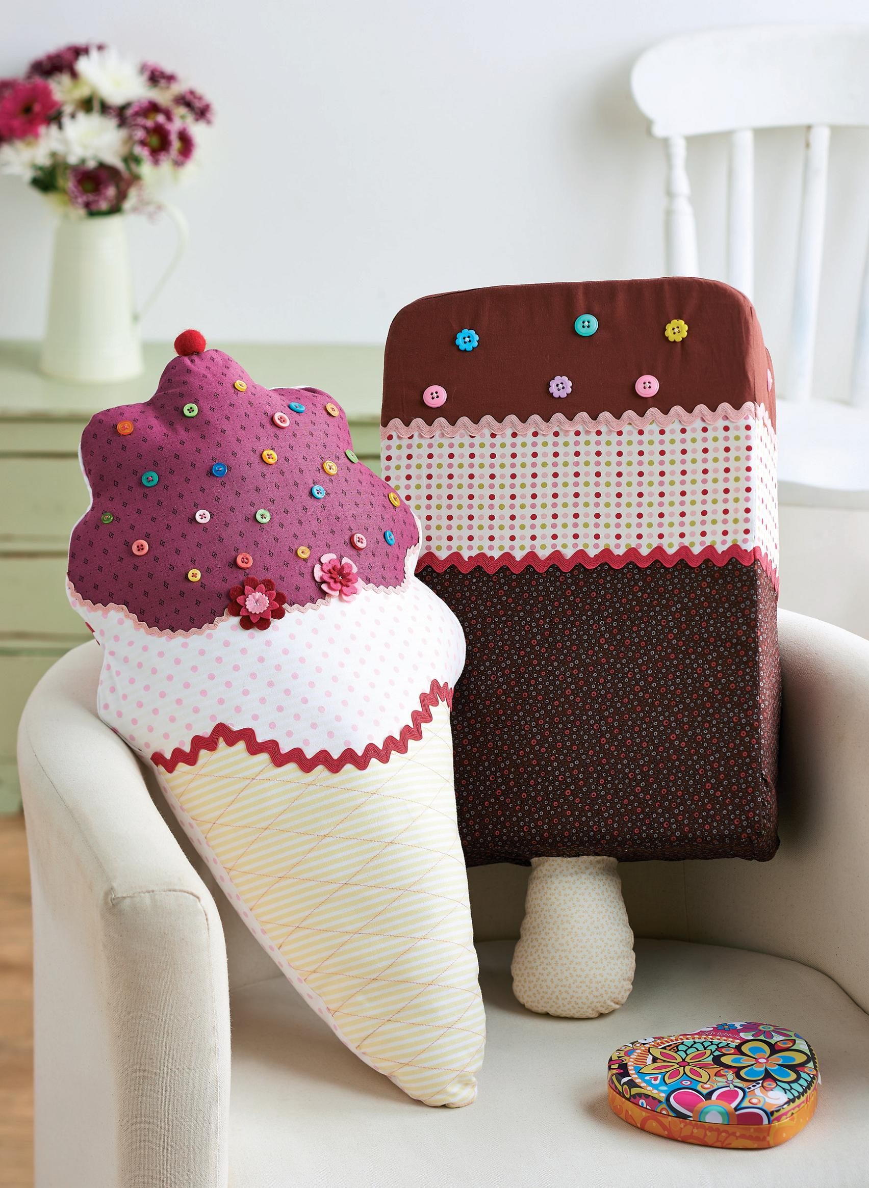 Cotton Print Ice Cream Cushions Free Sewing Patterns
