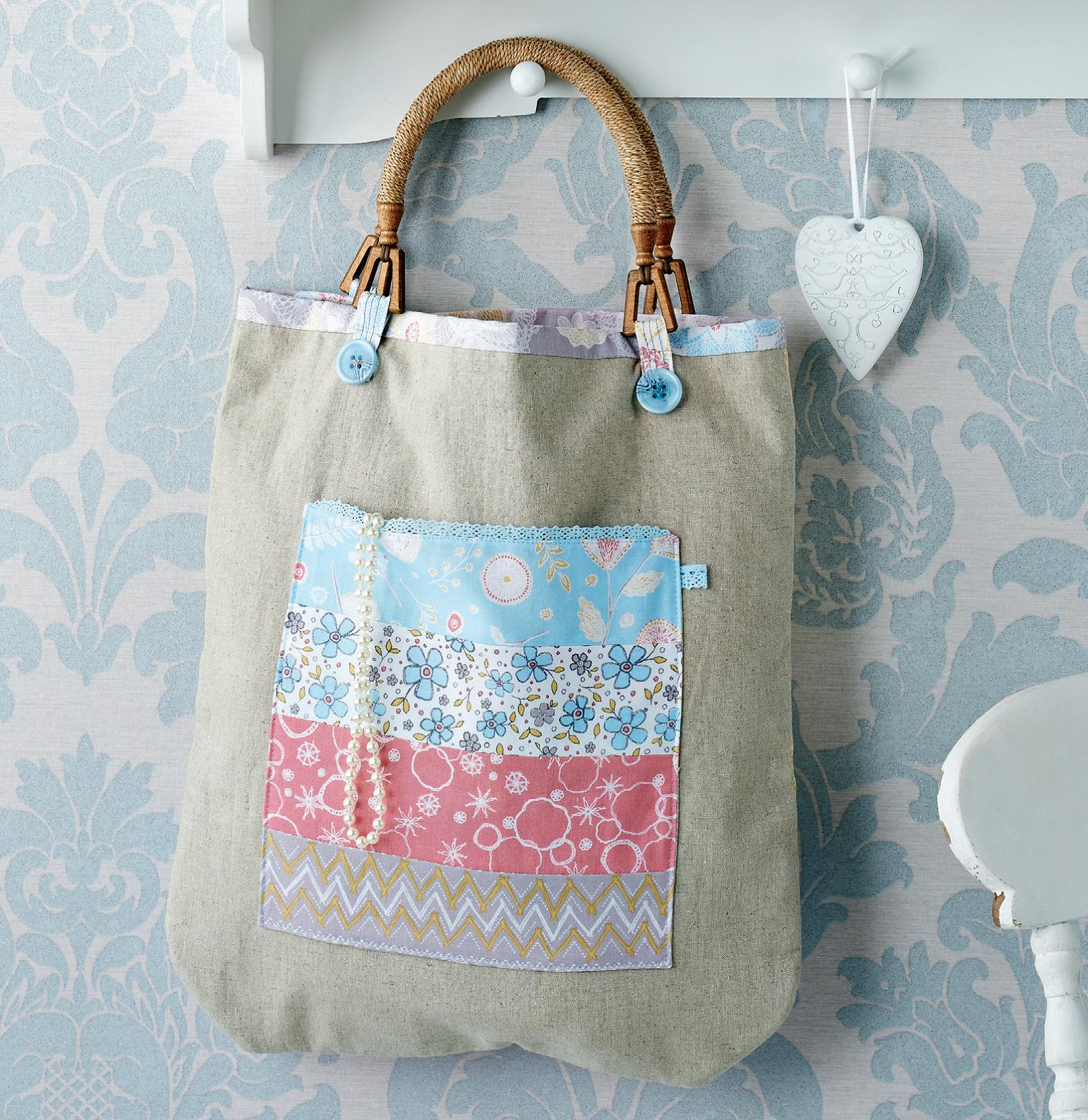 Wooden handled linen tote bag free sewing patterns sew magazine jeuxipadfo Image collections