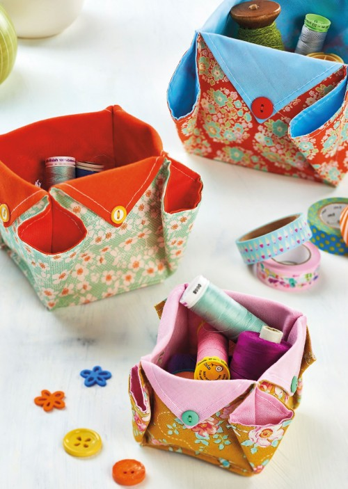 origami fabric boxes - free sewing patterns