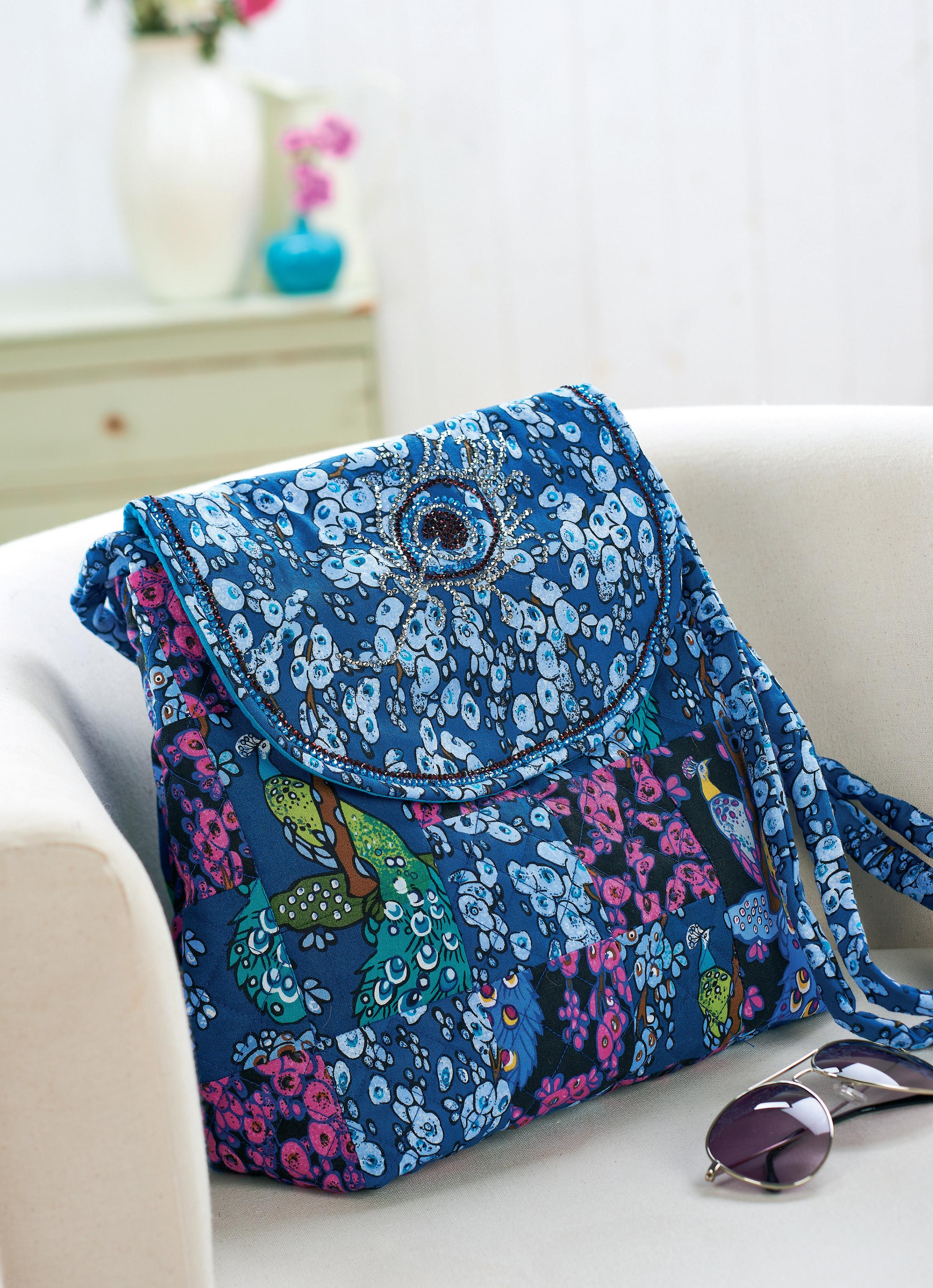V Amp A Peacock Fabric Bag Free Sewing Patterns Sew Magazine