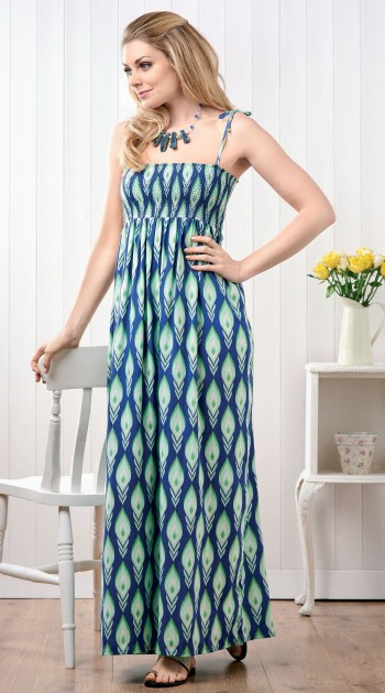 shirred maxi dress - free sewing patterns