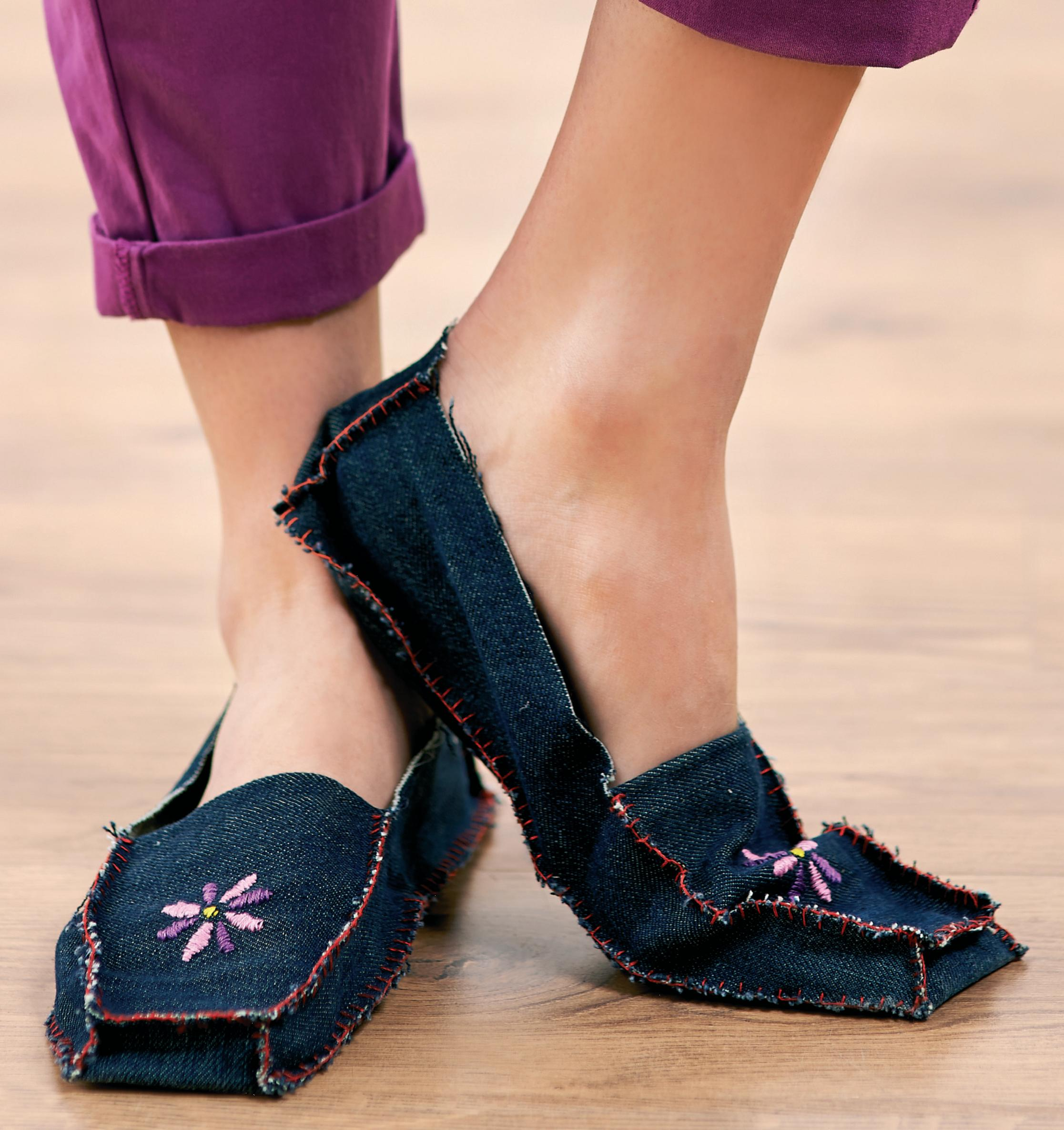 Upcycled Denim Slippers Free Sewing Patterns Sew Magazine