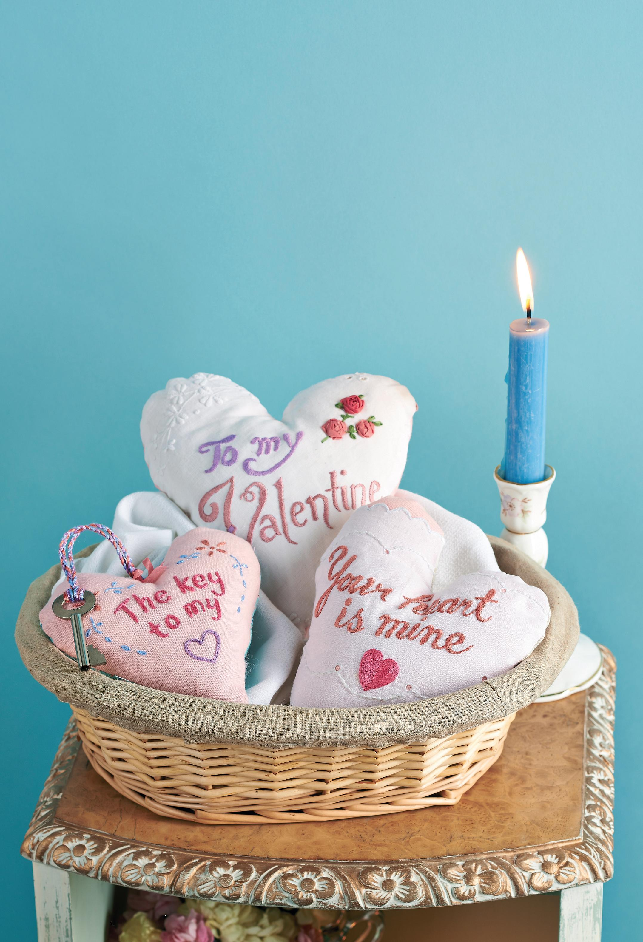 Vintage Valentine Embroidered Heart Tokens Free Sewing